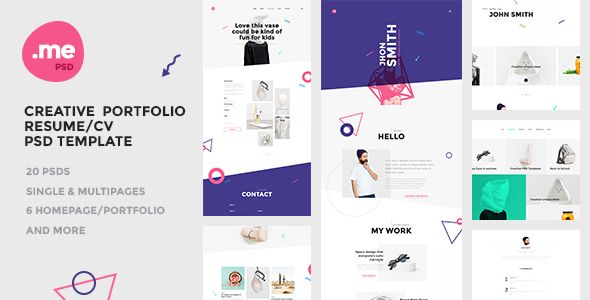 Me - Creative Portfolio \ Resume   CV PSD Template  Me is a one - about me resume