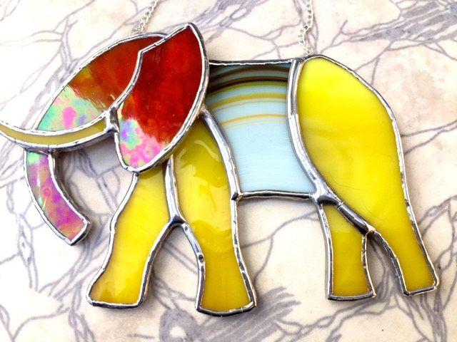 Exotic Unique Elephant Stained Glass Suncatcher Lover Birthday Gift Window Ornament Wall