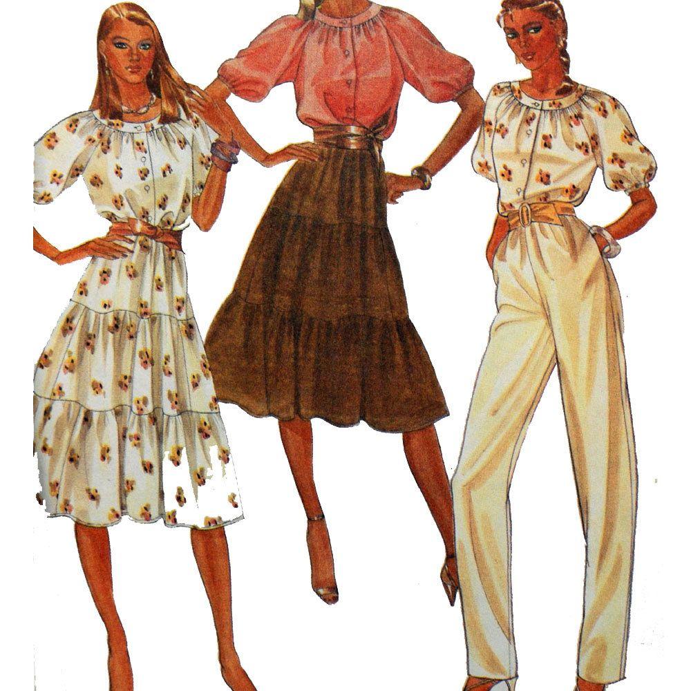 Vintage 80 Skirt & Blouse Pattern / Ruffle Skirt Pencil ...
