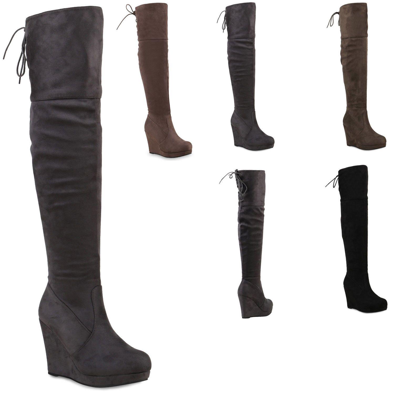 Wedges Stiefel Absatz Plateau Keil Overknees Damen Schuhe Lqj3R54A