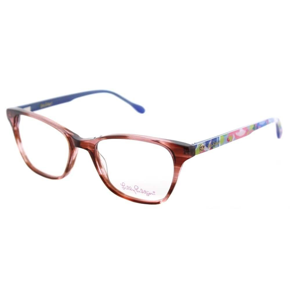 Lilly Pulitzer Rectangle Sydney AM Womens Amber Frame Eyeglasses ...