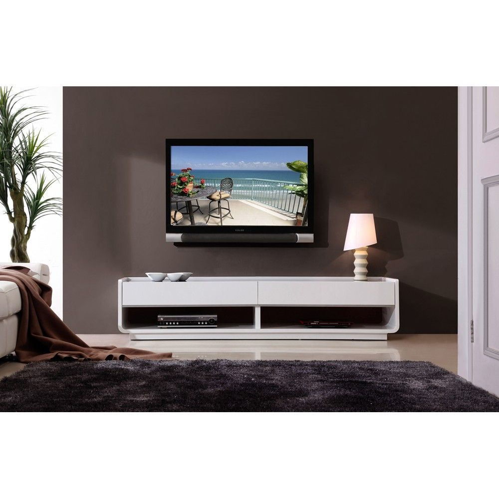 B modern designer tv stand   This sophisticated tv unit has openings for  your AV components in the bottom with 2 long drawers above. B Modern Designer TV Stand in White High Gloss by B Modern   TV