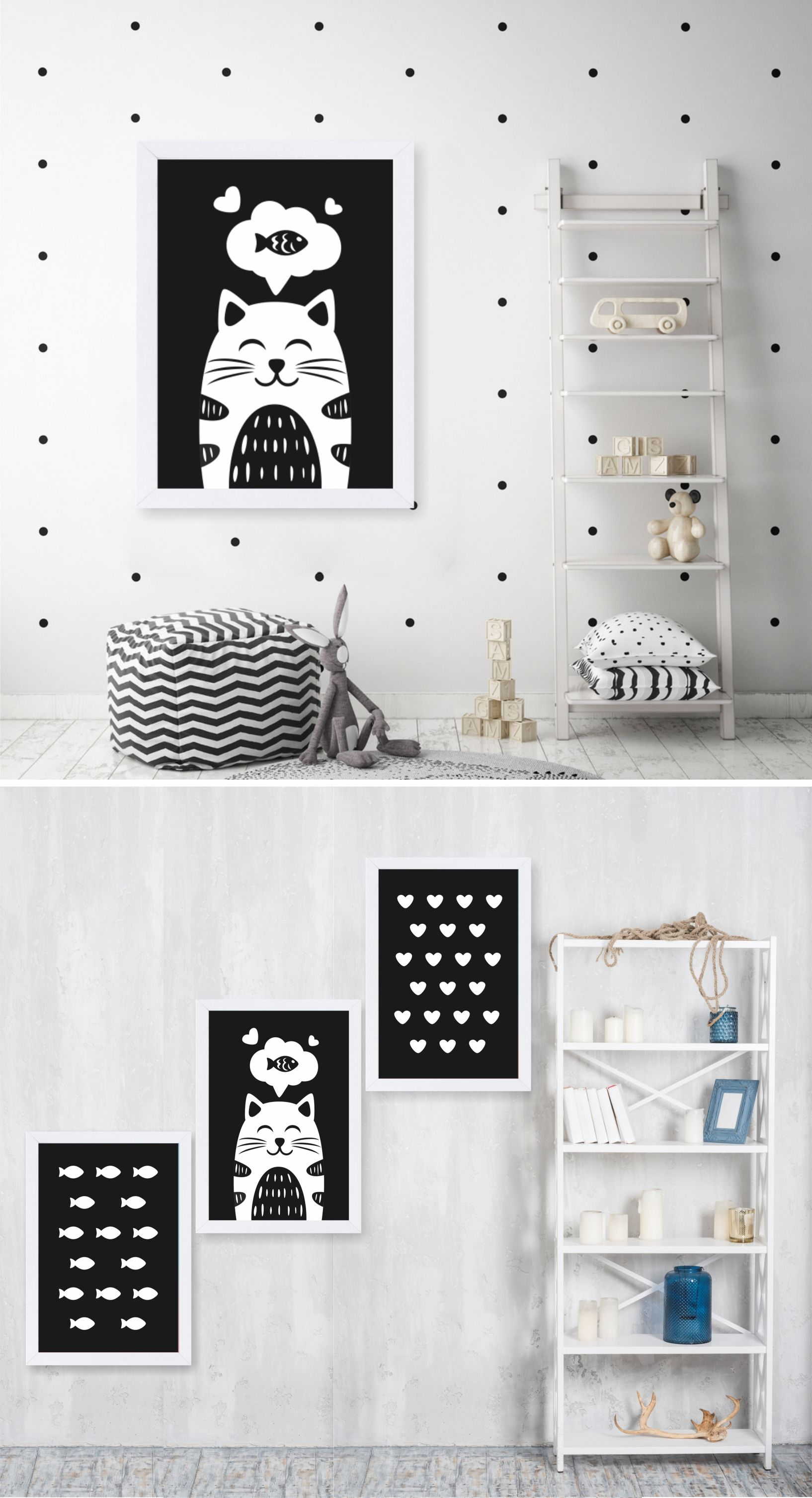 Black And White Printable 3 Posters Pack Cartoon Cute Cat Etsy Cat Wall Art Cat Wall Living Room Designs
