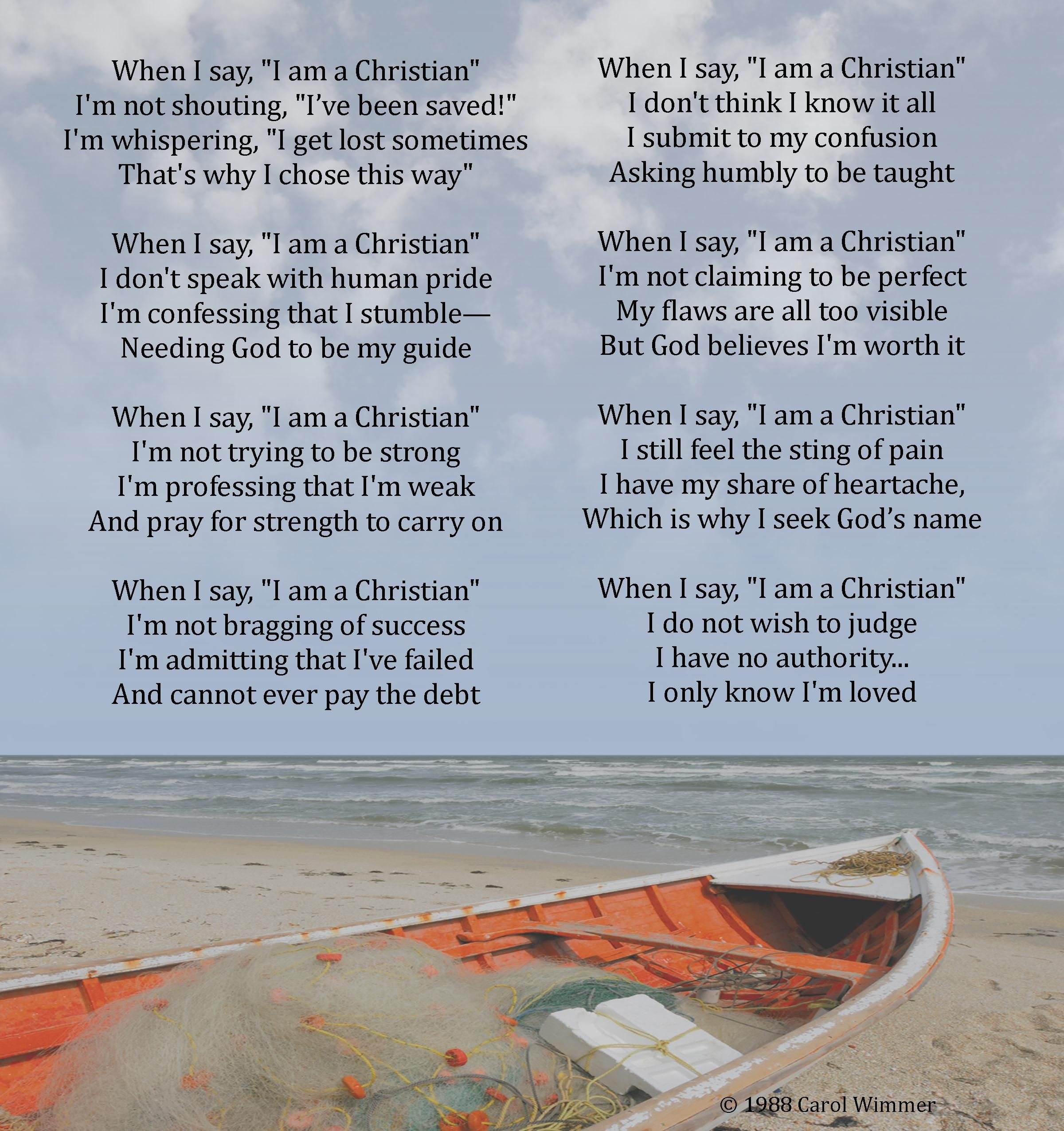 When i say i am a christian poem featuring an empty for The fish poem