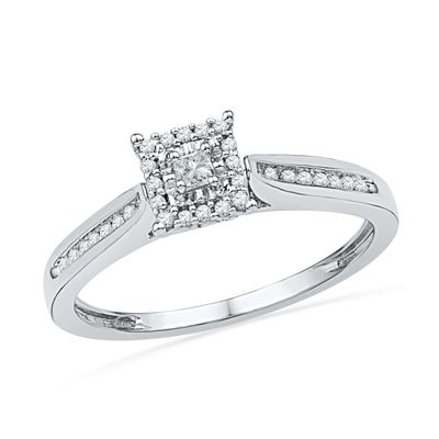 15 CT TW PrincessCut Diamond Square Frame Promise Ring in 10K