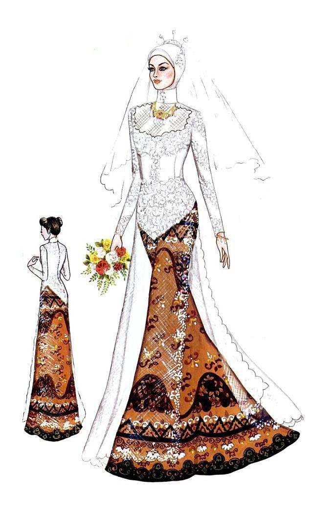 Kebaya Dan Gaun Pengantin Muslim Hijab Ilustraciones De Moda