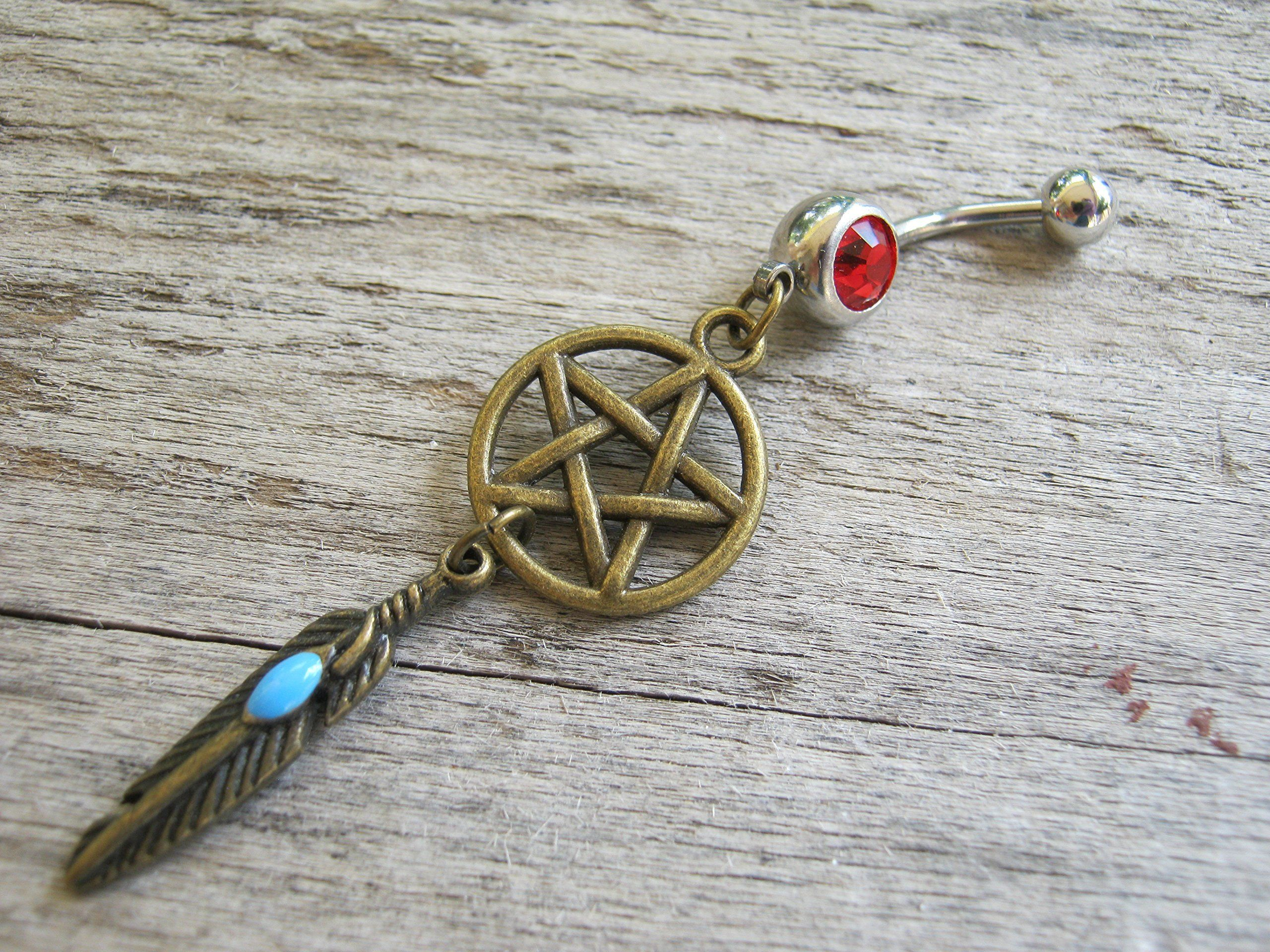3rd piercing ideas  PERSONALIZED Pentacle Dreamcatcher Belly Button Ring Antiqued