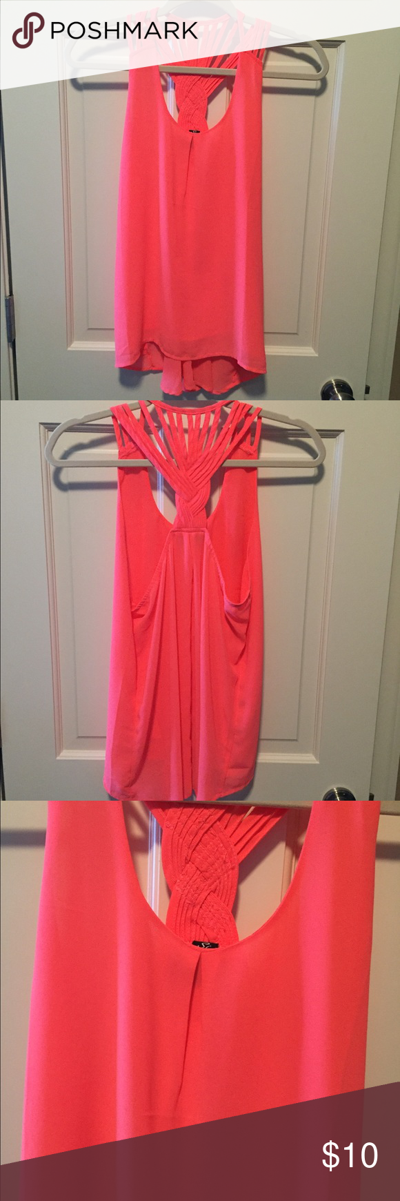 Neon coral tank top. Size medium. Super cute tank, size medium. In great condition! Tops Tank Tops