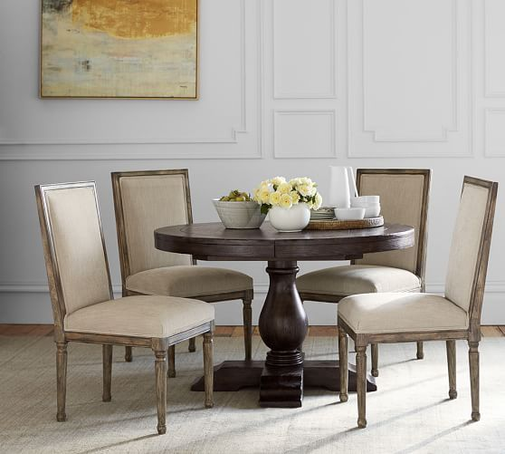 Lorraine Round Pedestal Extending Dining Table Hewn Oak With