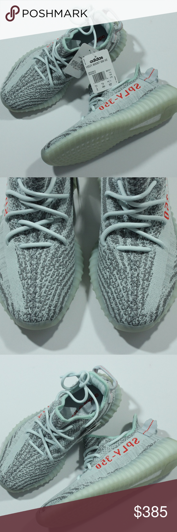 56c2eec3392 Adidas Yeezy Boost 350 V2 Blue Tint Grey B37571 Authentic Adidas Yeezy  Boost 350 V2 Blue