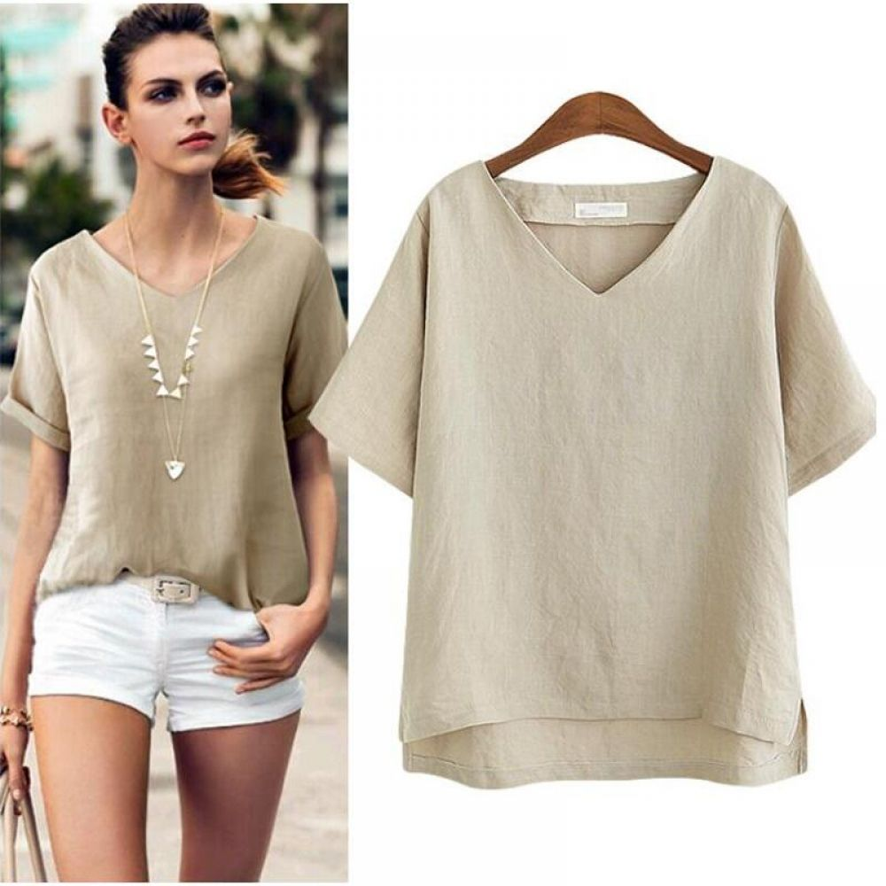 Cotton Linen Blouse Summer Short Sleeve Casual Shirt Women Tops Loose Blusa Mujer Vetement Femme Fashion Plus Size Women Blouses | www