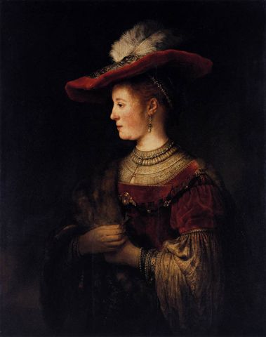 image+of+saska+wearing+red+pompus+dress+by+rembrandt | Rembrandt van Rijn, Saskia in Pompous Dress, ca. 1634-42, Staatliche ...