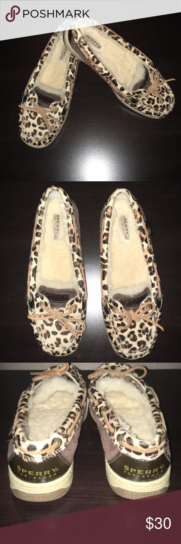 77f94e7827b Sperry Topsider Leopard print Leopard print Sperry Topsider. Fleece lining.  Size 6.5. Sperry Shoes Flats   Loafers
