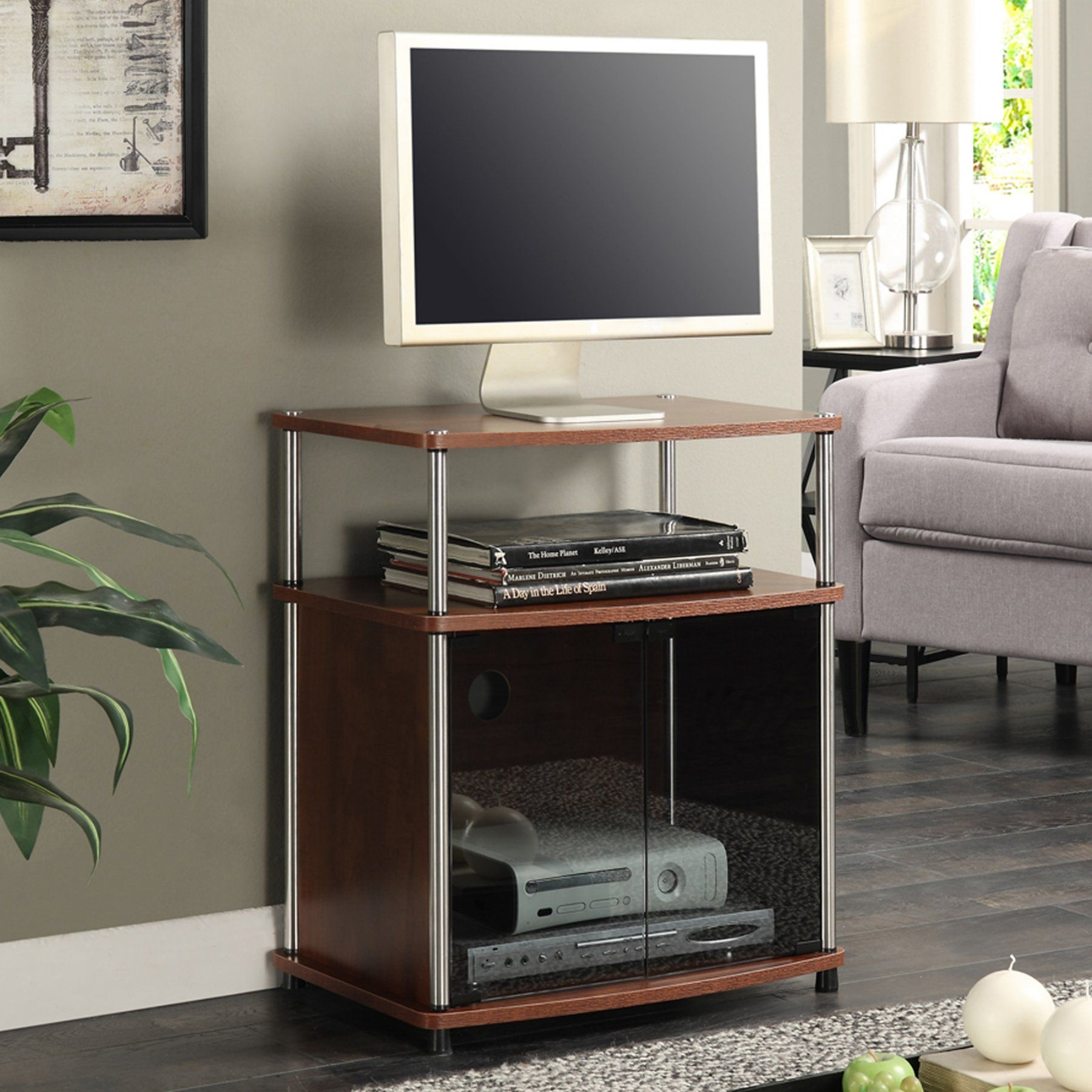 Convenience Concepts Tv Stand With Black Glass Cabinet 151056ch Tv Stand With Glass Doors Tv Stand Cabinet Glass Cabinet Doors