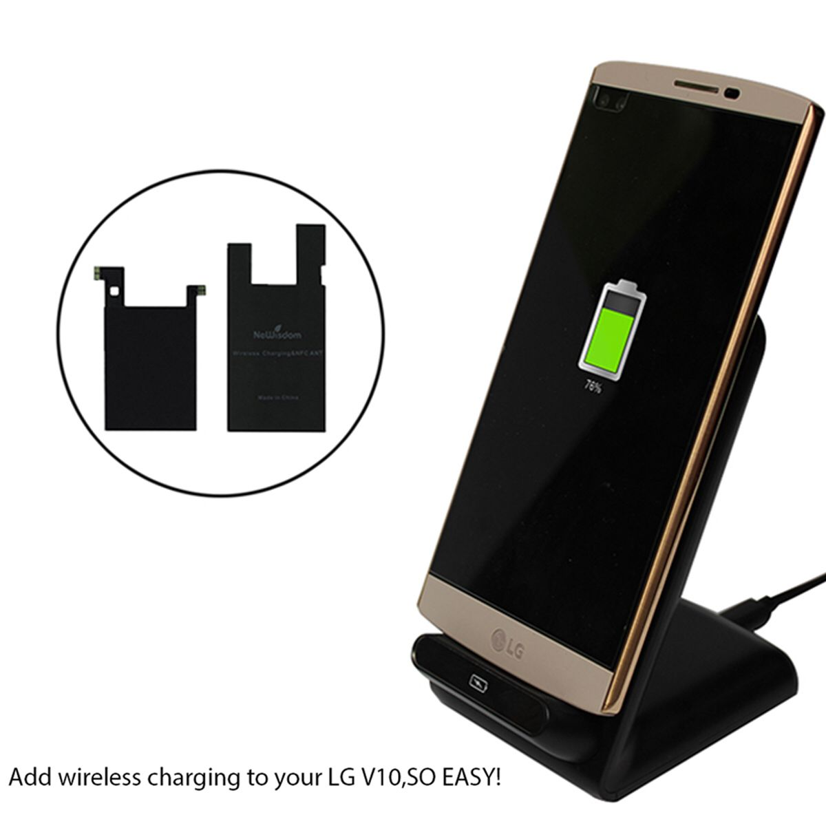 Add Wireless Charging To Your LG V With NeWisdom V Qi Sticker - Clever magnetic wall clock charges phone wirelessly