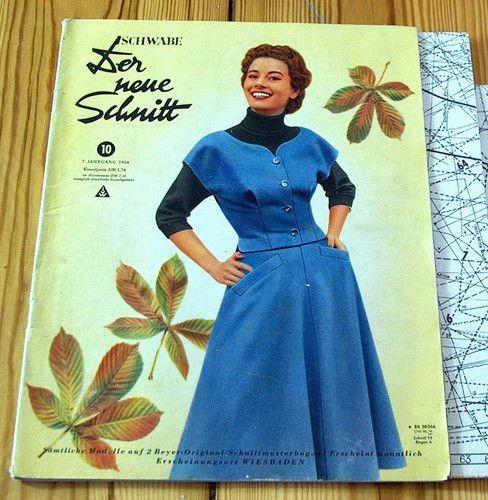 Modezeitschrift DER NEUE SCHNITT 10/1954-2 Schnittmuster-Bg 50er ...