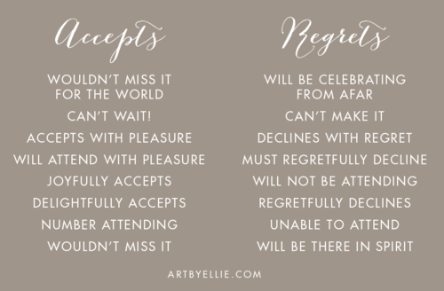 Wedding Invitation Regrets: RSVP Response Card Wording