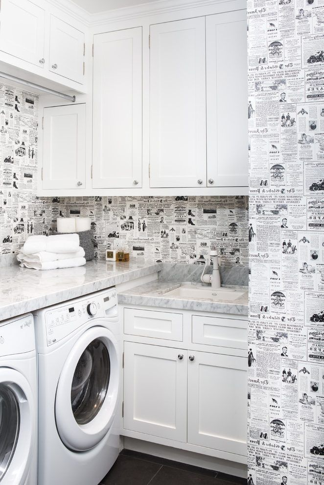 White Laundry Room Laundry Room Transitional With Black And White