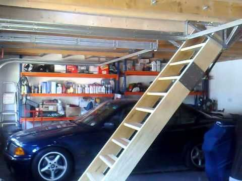 Gas Spring Assisted Retracting Staircase For Loft Attic Access In My Garage No Need For Motorised System Or Electric Loft Staircase Loft Stairs Garage Attic