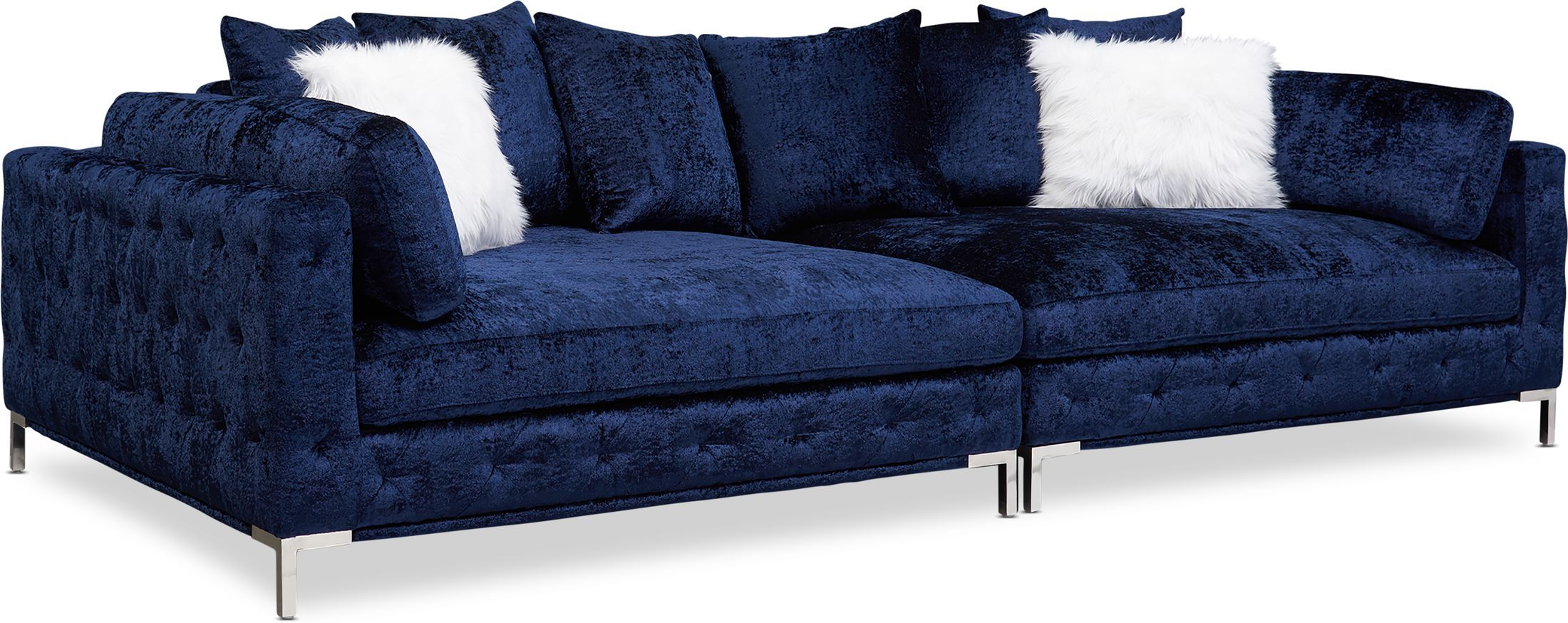 Milan 2 Piece Sofa Midnight In 2021 Value City Furniture American Signature Furniture City Furniture