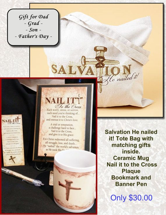 Nailed it Tote Bag with matching Nail it to the Cross ceramic coffee ...