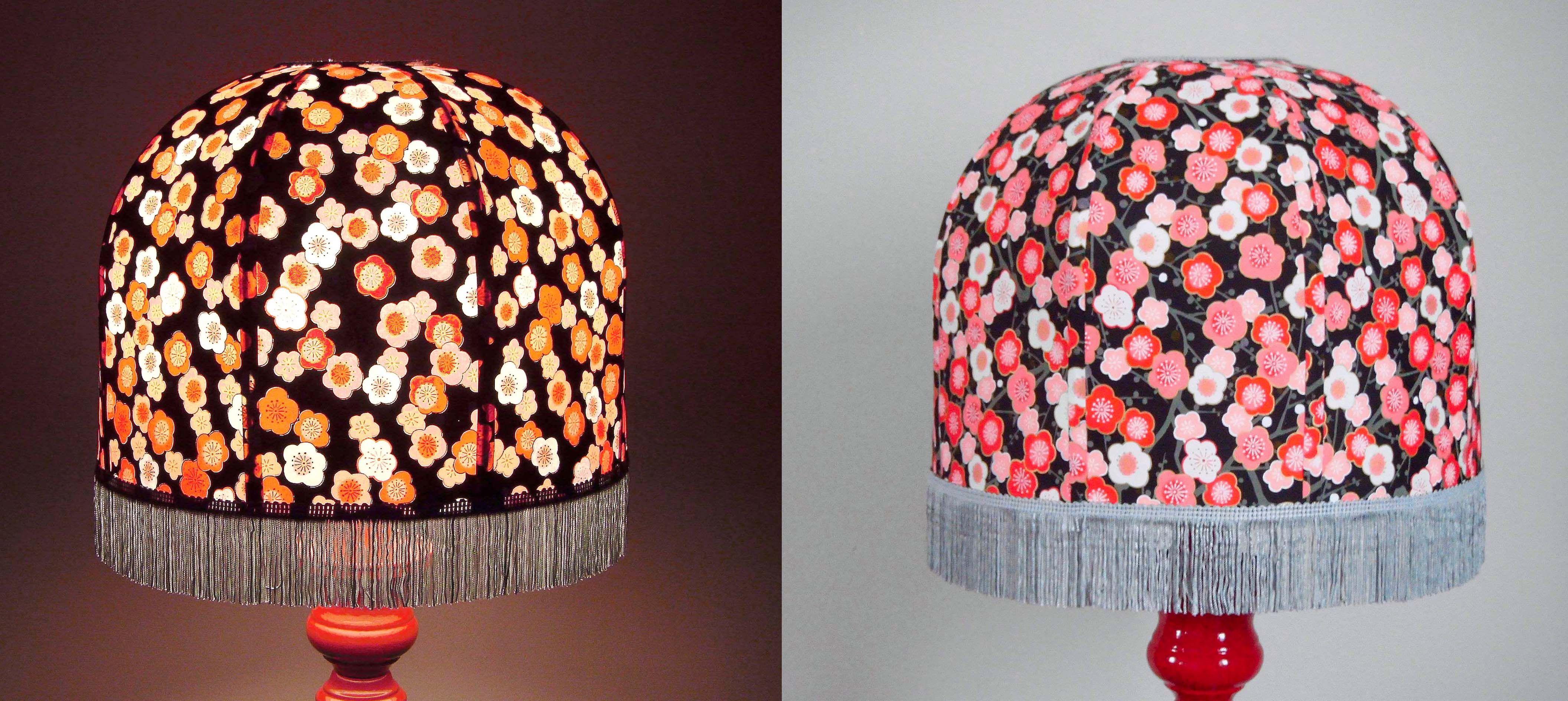 abat jour r tro forme d me cage en papier japonais fond noir fleurs frange grise 30 cm de. Black Bedroom Furniture Sets. Home Design Ideas
