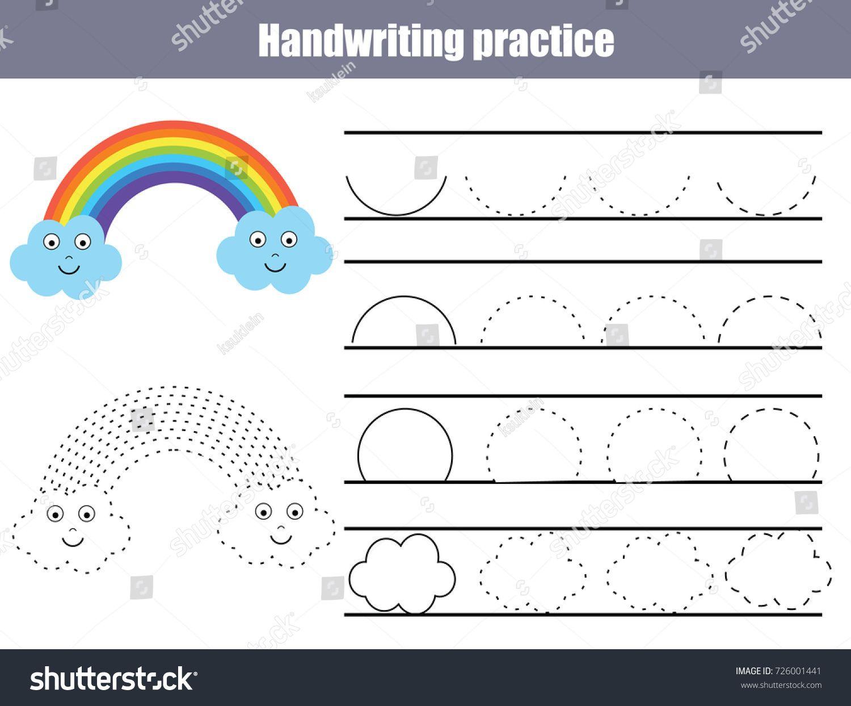 Handwriting Practice Sheet Educational Children Game Printable Worksheet For Kids Writing Trai Rainbow Writing Kids Worksheets Printables Writing Worksheets