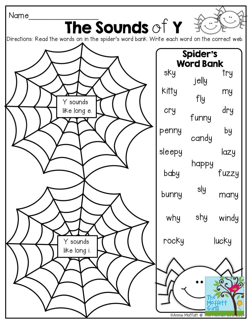 The Different Sounds Of Y Write Them On The Correct Web Tons Of Fun Printables
