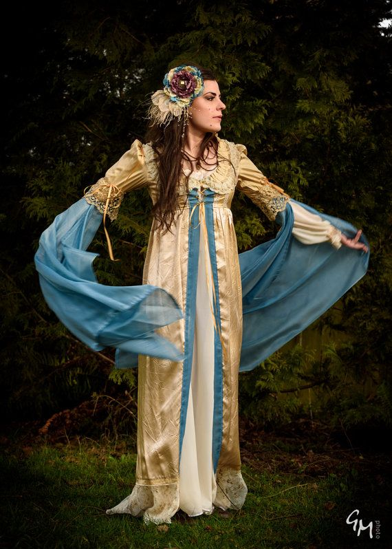Blue and golds Fairy princess Elf queen Medieval renaissance inspired Halloween costume over- dress robe  sc 1 st  Pinterest & Blue and golds Fairy princess Elf queen Medieval renaissance ...