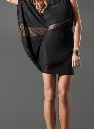 Black Fitted Dress with One Bat Wing Sleeve,  Dress, sexy dress  draped dress, Chic