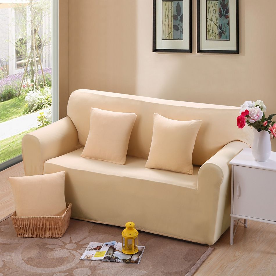 Light Color Full Sofa Cover Slipcover L Shape Sofa Cover Couch Case For Single Double Three Four Seat Sofa Sofa Covers Single Seater Sofa Sofa And Loveseat Set