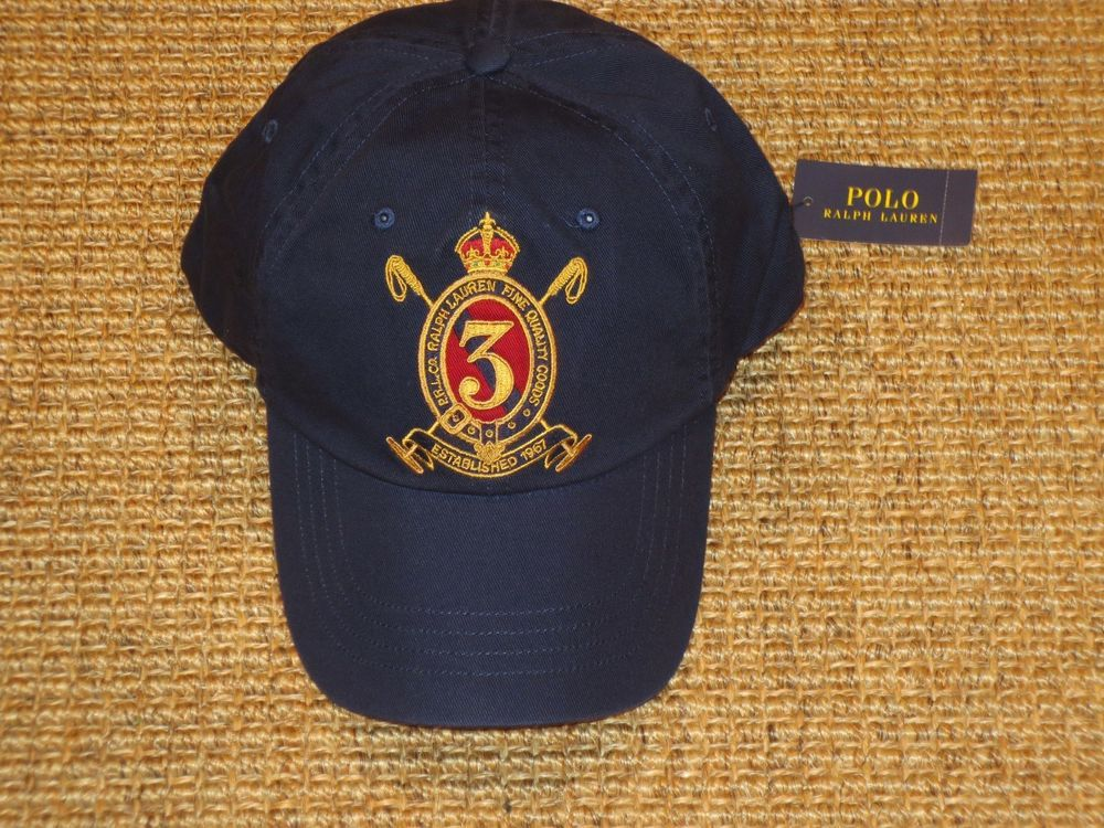 6aa38089d21 POLO RALPH LAUREN MEN S GOLD CREST CHINO HAT BASEBALL CAP NAVY BLUE  49 TAG   PoloRalphLauren  BaseballCap
