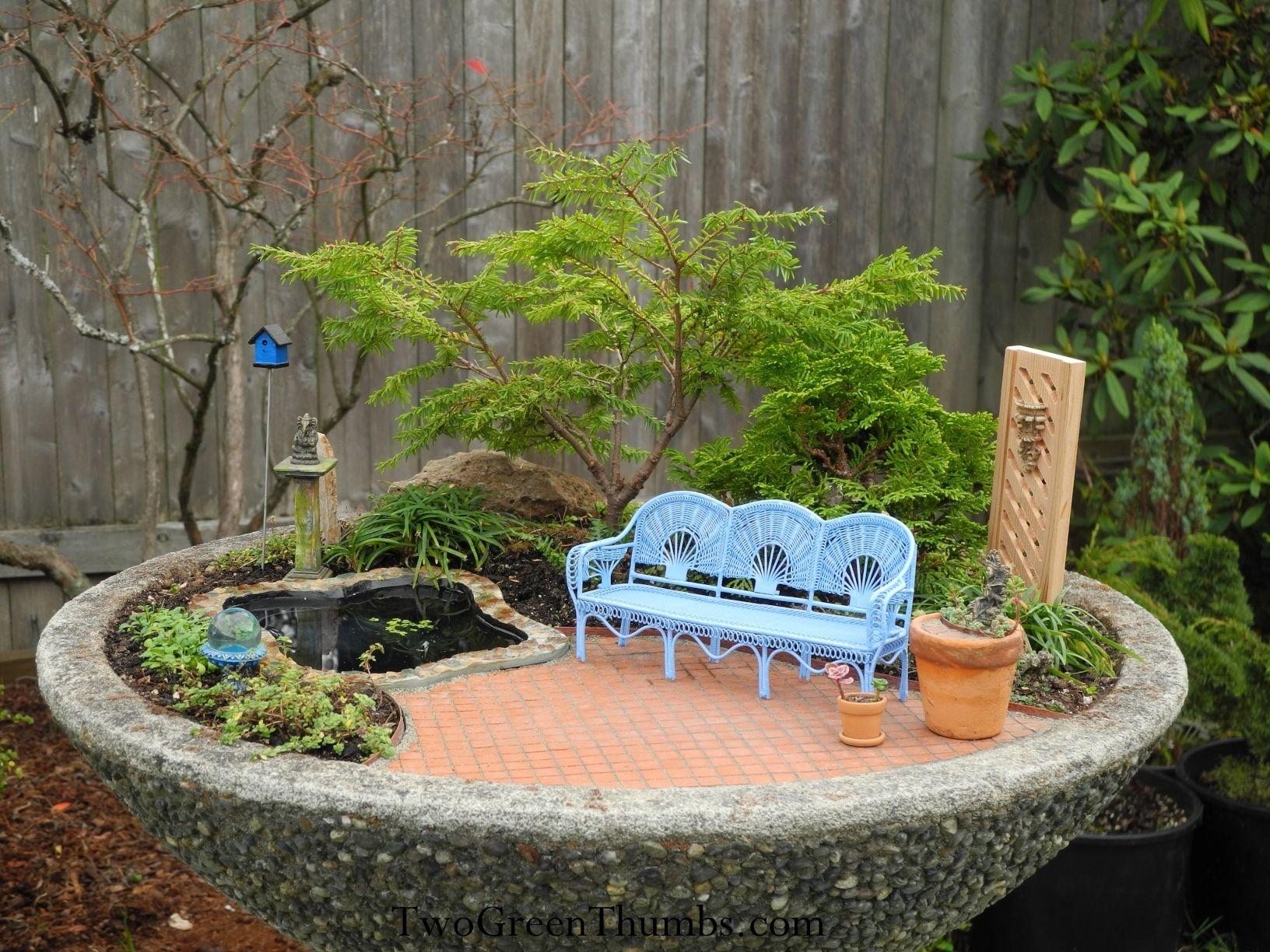 Attractive Indoor Mini Garden Design With Blue Bench Ideas