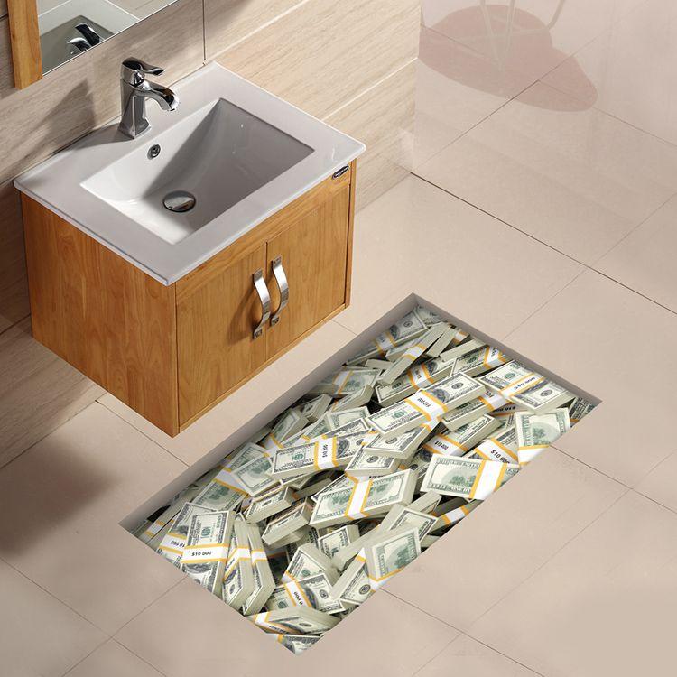 Baño 3d Patrón Euro Impermeable Etiqueta Pag Piso Antideslizante Ducha  Lavable Decoración De La Habitación