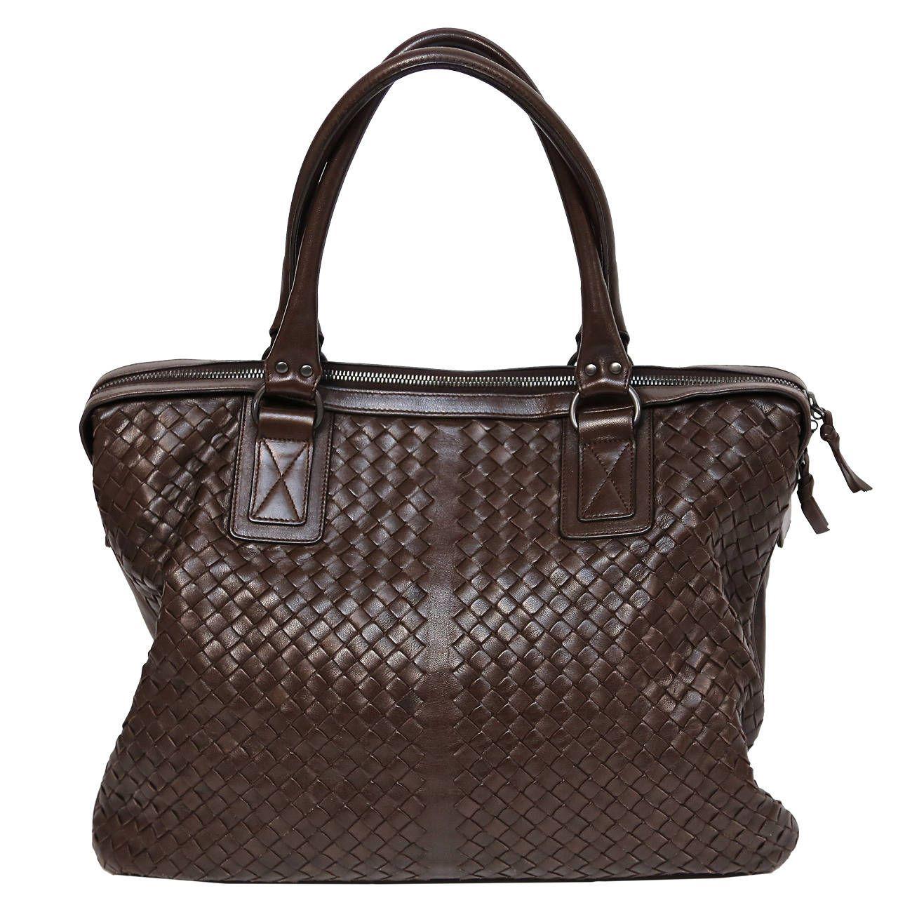 22fdfee12e006 BOTTEGA VENETA oversized brown intrecciato woven leather tote bag | From a  collection of rare vintage