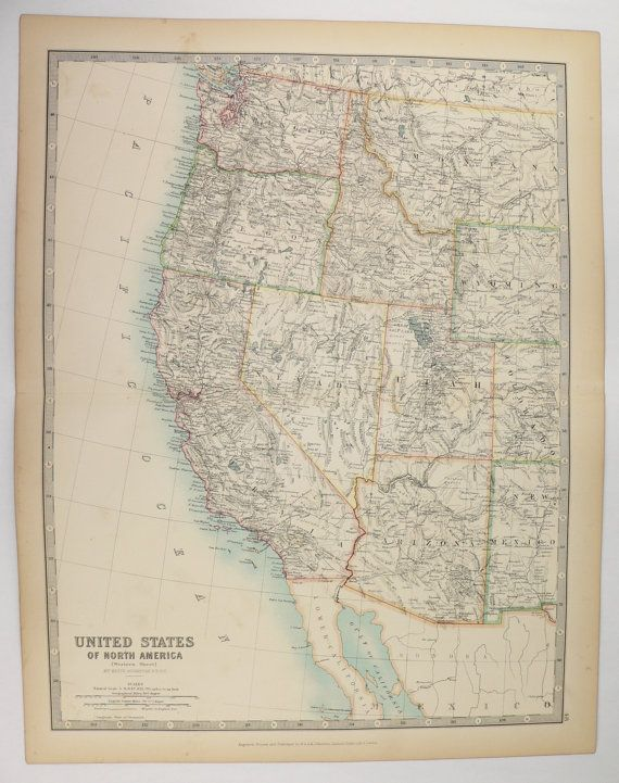 Antique California Map Washington Oregon Map Nevada Idaho Map Utah Arizona Map 1905 Johnston