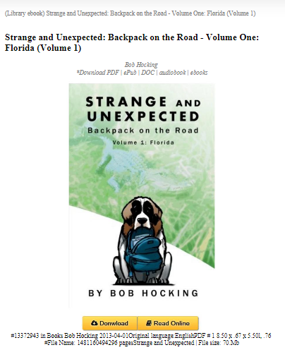 Strange And Unexpected Backpack On The Road Volume One Florida Volume 1 Strange Bob Books Unexpected