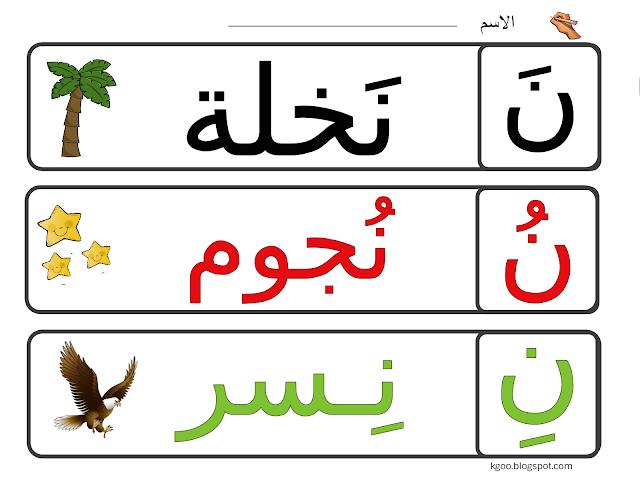 نشاط حرف النون للاطفال Arabic Alphabet For Kids Alphabet For Kids Arabic Decor