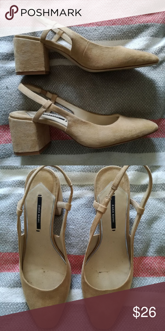 996202c71b1 ZARA Suede Leather Slingback Heels Sz 39 ZARA Sz 39 (fits size 8.5-9 best)  Light tan cream leather suede slingback block heels. Worn once for an  event