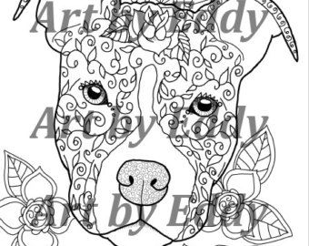 This Coloring Book Consists Of 15 Hand Drawn Images Beautiful Pitbulls For You To Color The File Is 3 High Quality PDF Files Each Containing 4 6