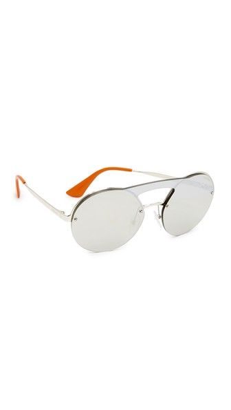 59a48ba2b6c PRADA Cinema Round Brow Bar Sunglasses.  prada  sunglasses