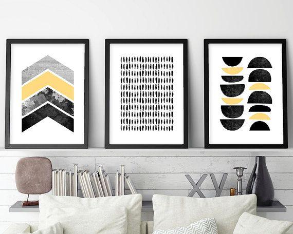 Set of 3 prints minimalist posters minimalist scandinavian scandinavian modern scandinavian print print scandi printable art yellow
