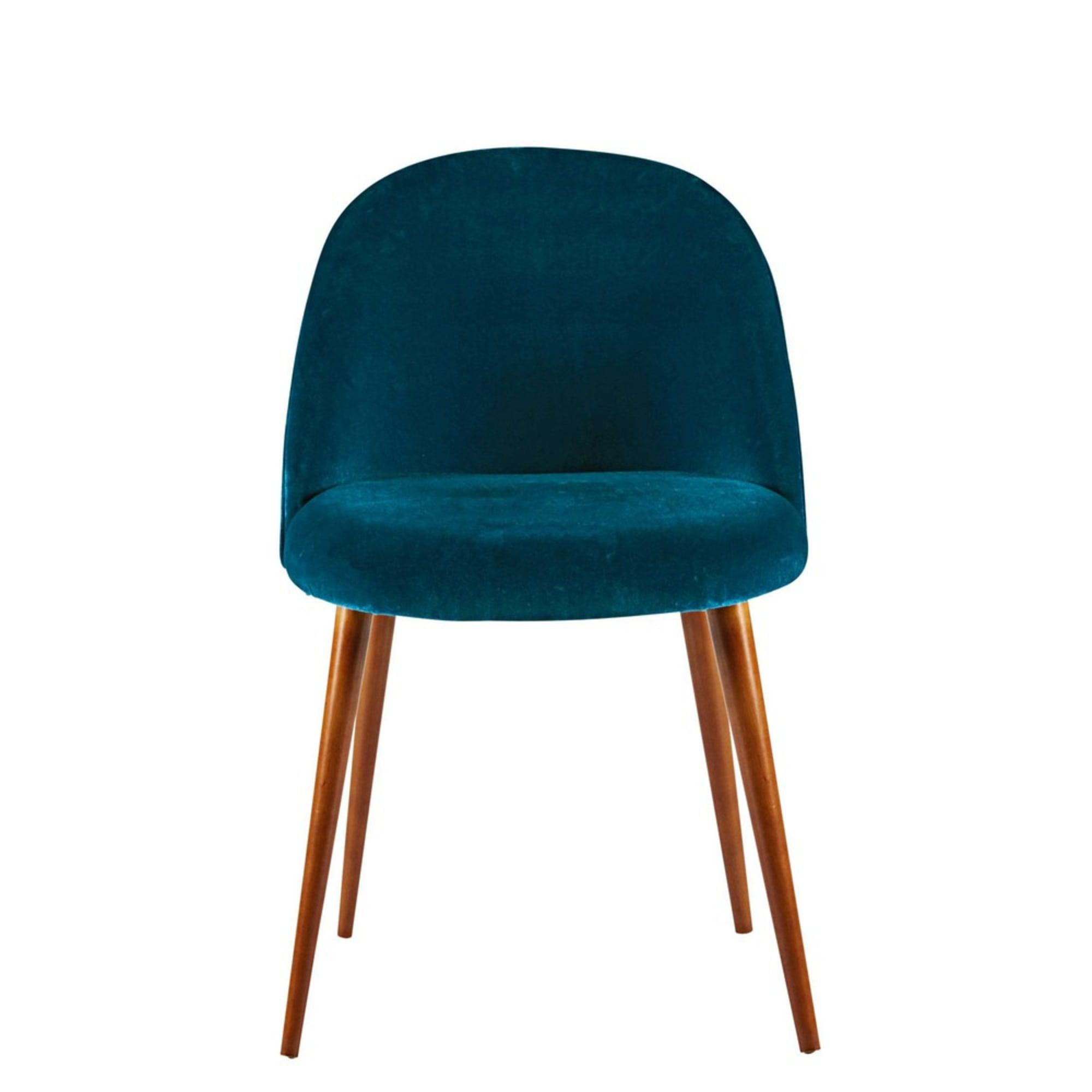 chaise vintage en velours bleu canard