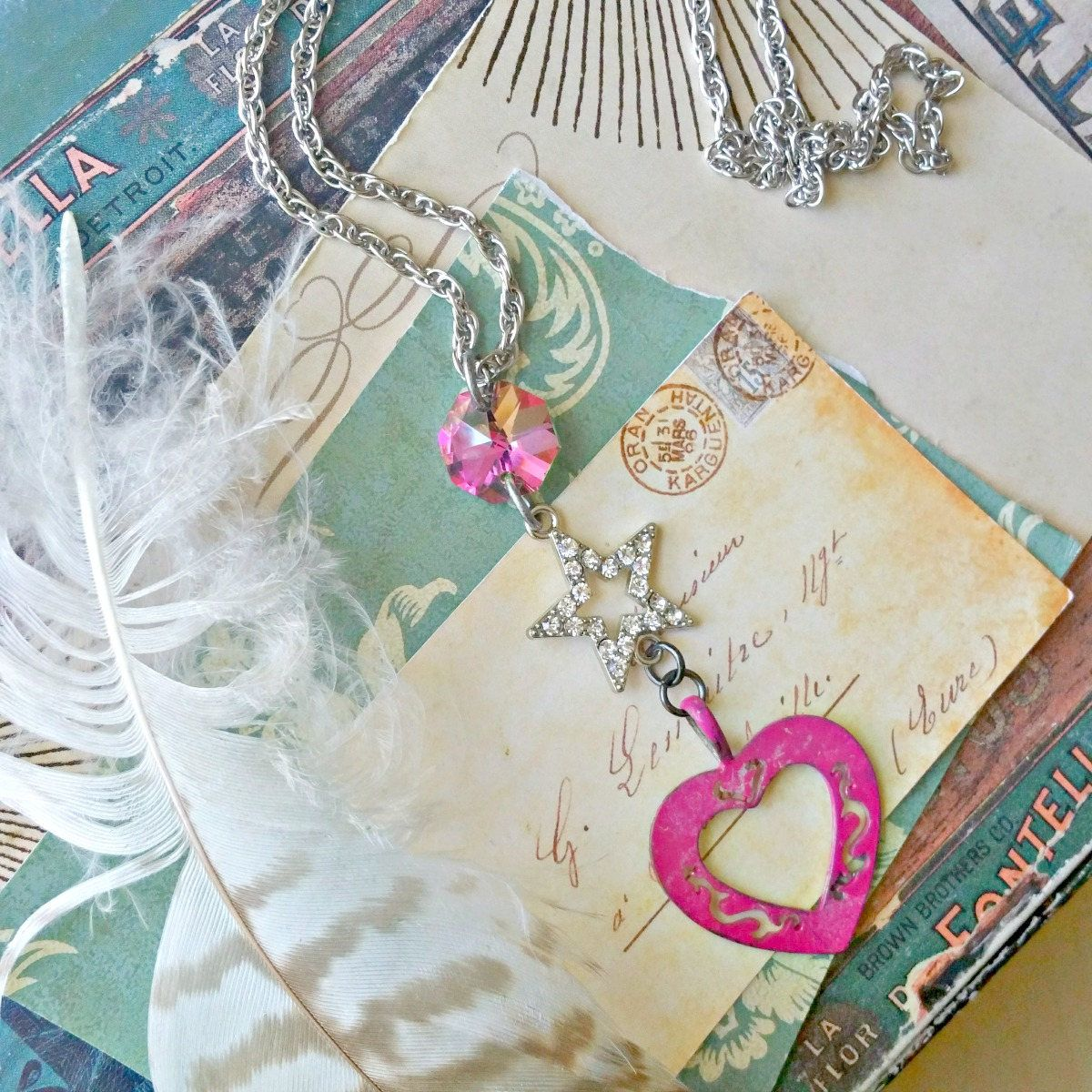 Shabby chic pink heart necklace assemblage star chandelier shabby chic pink heart necklace assemblage star chandelier crystal upcycled repurposed vintage long necklace fab flea market arubaitofo Image collections