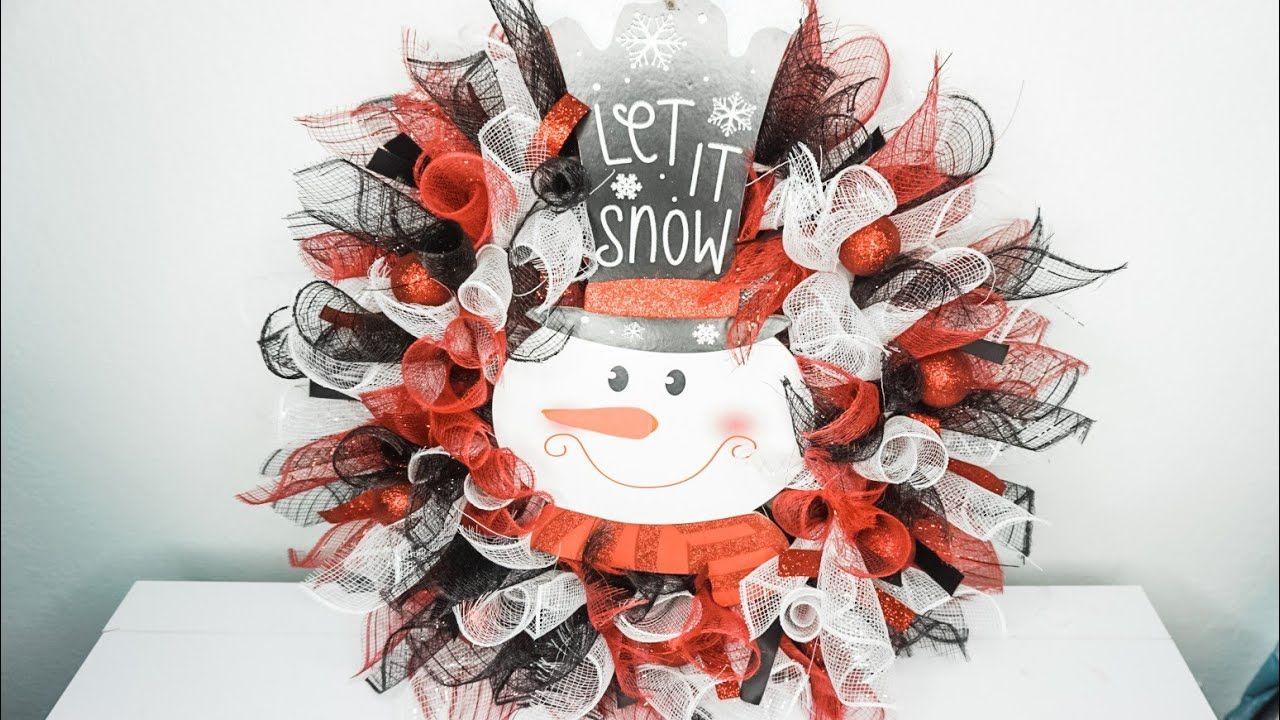 DIY Christmas Deco Mesh Snowman Wreath Dollar Tree