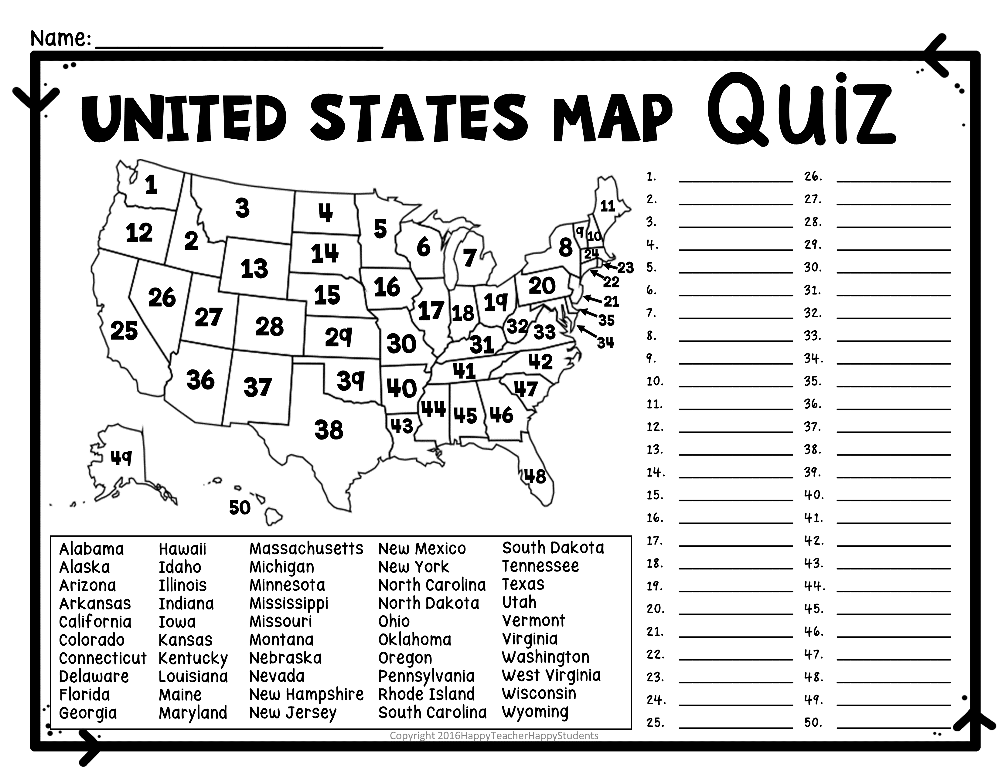 United States Map Quiz Worksheet USA Map Test with Practice