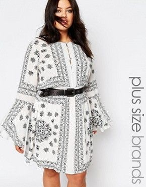98d1f513dce Missguided Plus Festival Print Bardot dress