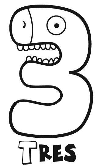 Número tres, 3. Para imprimir, colorear, pintar. | dibujos para ...