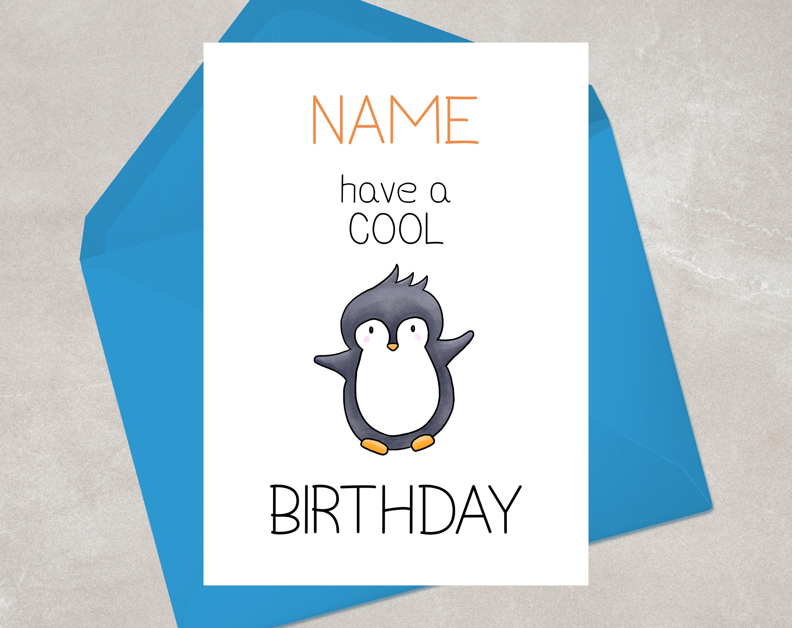 Penguin Birthday Card Have A Cool Birthday Happy Etsy Birthday Puns Penguin Birthday Personal Cards