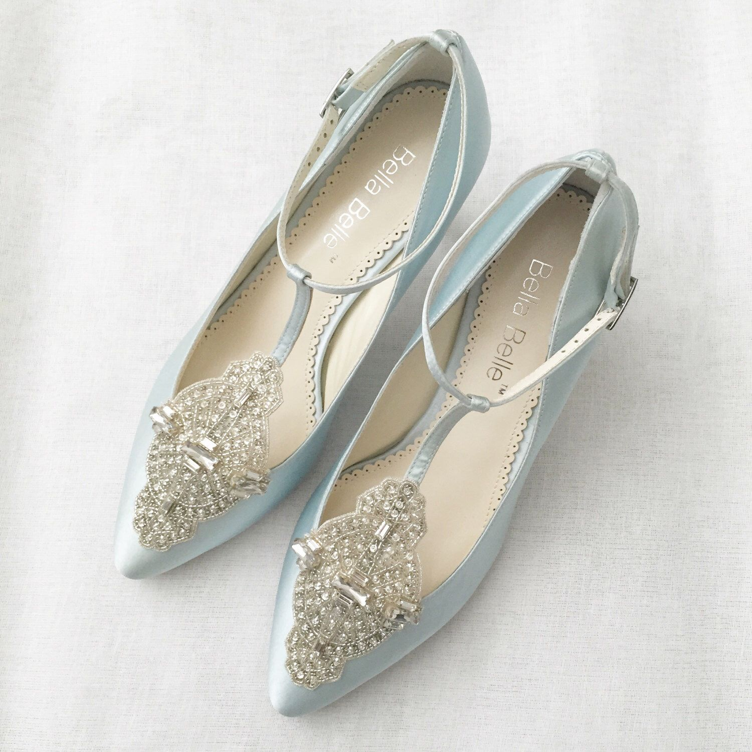 7b40e6255fe Art Deco Something Blue Wedding Shoes with Great Gatsby Crystal Applique  T-Strap Kitten Heel